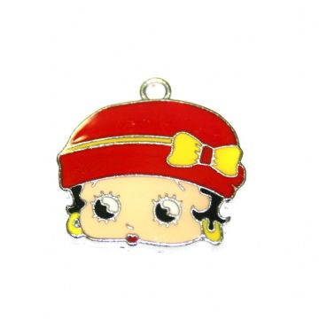1pce x 23*19mm Betty face with red hat and yellow bow enamel charms - S.D03 - CHE1298